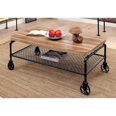 Pallet Furniture Furniture of America Eddison Industrial Coffee Table - Pipe Furniture, Pallet Furniture, Rustic Furniture, Living Room Furniture, Furniture Ideas, Furniture Stores, Cheap Furniture, Furniture Market, Discount Furniture