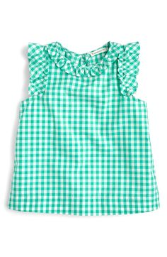 crewcuts Ruffle-Trimmed Top In Gingham Frocks For Girls, Dresses Kids Girl, Little Girl Outfits, Cute Outfits For Kids, Baby Girl Dress Design, Kids Nightwear, Baby Girl Tops, Baby Dress Patterns, Shirts For Girls
