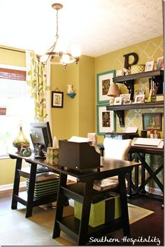 """Want my studio/ office to look this awesome!! The colors of the walls, black furniture and the open shelves combine for classy ...& I'd want to keep it from getting """"crazy""""!!"""