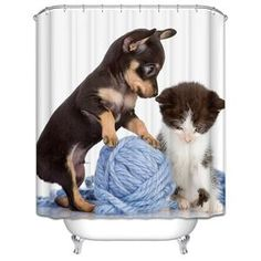 Decor Collection Row Of Hungry Dogs Cat Dog Wolf Panda Art Polyester Fabric Bathroom Shower Curtain Set With Hooks hot Shower Curtain Weights, Bathroom Shower Curtain Sets, Bathroom Shower Curtains, Fabric Shower Curtains, Panda Art, Dog Shower, Kittens And Puppies, Curtains For Sale, Waterproof Fabric