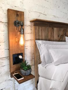 Set of 2 Rustic Floating Nightstand with Light and Outlet One Home Decor Bedroom, Diy Home Decor, Modern Rustic Bedrooms, Rustic Floating Shelves, Small Room Decor, Rustic Wall Sconces, Floating Nightstand, Home Furniture, Interior Design