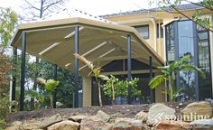 Enjoy the space and freedom to relax, entertain and play with a Spanline patio or verandah. With our range of styles you can mix & match to create a unique design that is perfect for you & your home. Change the way you play®️ with Spanline. Carport Patio, Gazebo, Pergola, Gable Roof, Outdoor Spaces, Outdoor Decor, Australian Homes, Screened In Porch, Home Additions