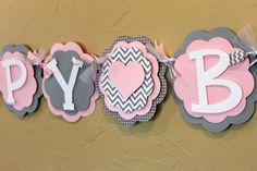 """Heart Light Baby Pink Gray Chevron Stripe Polka Dot """"HAPPY BIRTHDAY"""" Banner Girl Baby Shower Party Decorations Wedding Love Valentine Shabby on Etsy, $38.00"""