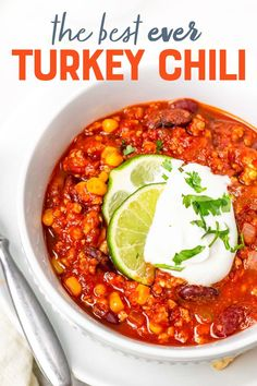 This turkey chili is a classic in our family for good reason—it's packed full of flavor, easy to make, and tastes really good scooped with tortilla chips! Chili Recipes, Veggie Recipes, Thanksgiving Recipes, Fall Recipes, Turkey Chili, Best Dinner Recipes, Lunch Snacks, Healthy Eating Recipes, Tortilla Chips