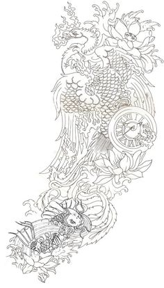 Koi and Phoenix Tattoo idea, I would love this on my thigh with lots of coloring.