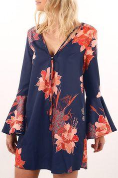 Random Floral Print V-neck Long Sleeves Dress