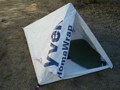 An ultralight tent for one, constructed from Tyvek HomeWrap! Must try this...
