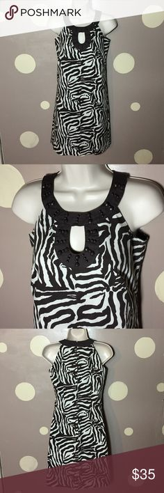 00 loft petite a zebra print dress Brown and cream colored sleeveless zebra print dress from Ann Taylor loft. Petite size double zero. Features a beaded neckline accent. Shell is 97% cotton 3% spandex. Lining of 100% polyester. Machine wash cold tumble dry low. Fabulous condition no stains, rips's or tears. Lying flat and unstretched bust measures roughly 15 inches length roughly 33 1/2 inches LOFT Dresses Midi