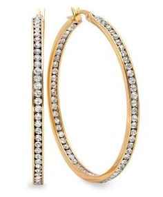 Gem Stone King 2 Inch Stunning Stainless Steel High Shine Inside-Out Hoop Earrings With CZ Diamond Hoop Earrings, White Earrings, Gold Plated Earrings, Buy Gems, Best Diamond, Stainless Steel Jewelry, Gold Sparkle, Gold Hoops, Gemstone Jewelry