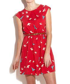 Bird Print Waisted Dress  £24.99