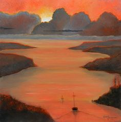 Passage Sunset Paintings Sailing paintings by KentJacobsonArtist