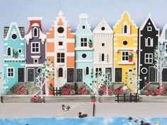 Little Houses – Helen Musselwhite 3d Paper Art, Paper Collage Art, Paper Artwork, Paper Crafts, Cardboard City, Paper Illustration, Paper Houses, Paper Cutting, Cut Paper