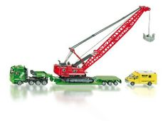 """Siku Heavy Haulage Transporter with Excavator and Service Vehicle by Siku. $87.99. Width: 2 1/4"""". Length: 10 3/8"""". Height: 7 1/4"""". Great vehicle to add to any car collection."""