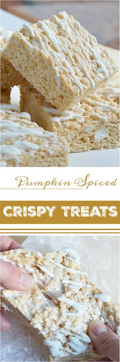 Fall flavor is all about the Pumpkin Spice! This Pumpkin Pie Spiced Crispy Treats Recipe is ooey-gooey, pumpkin spiced and loaded with marshmallows. These and a cup of coffee will get you through those chilly Fall afternoons! Crispy Treats Recipe, Rice Crispy Treats, Yummy Treats, Sweet Treats, Krispie Treats, Rice Krispies, Fall Desserts, Just Desserts, Dessert Recipes