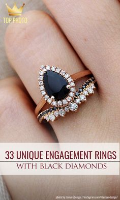Engagements Rings : Picture Unique Black Diamond Engagement Rings❤️black diamond engagement ring unique and stunning Black diamond engagement rings. Of course! Black Wedding Rings, Beautiful Wedding Rings, Beautiful Engagement Rings, Diamond Wedding Rings, Black Rings, Bridal Rings, Diamond Rings, Dream Wedding, Solitaire Diamond