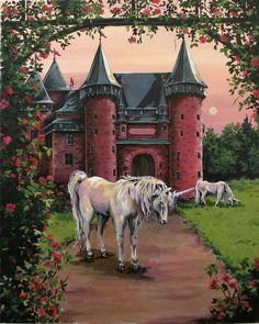 Unicorns Fine Art Archival Print  Personalized by Brushedmemories, $15.00 Unicorn And Fairies, Unicorn Fantasy, Unicorns And Mermaids, Unicorn Horse, Unicorn Art, Fantasy Art, Unicorn Painting, Clydesdale, Magical Creatures