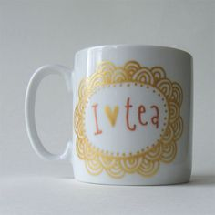 I heart tea hand painted china art mug pearlescent