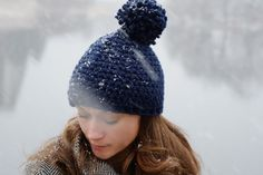 Chunky Crochet Hat With Extra Large Pom Pom In Navy by Accessodium