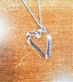 Heart Glass Necklace by bdenglass on Etsy