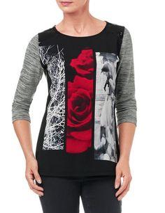 #GerryWeber St. Germain #tshirt 3/4 mouw - grijs zwart print - verticale vlakken - rode roos