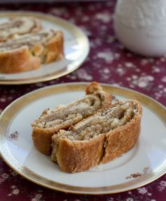 slovak nut roll-- tender bread filled with chopped nuts and brown sugar. This looks similar to what Max's grandma makes - yum!