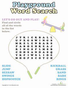 Stuck inside on a rainy day? Prepare for sunny days ahead with this playground word search.