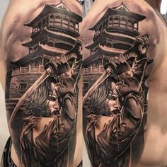 Samurai tattoos are very common among the Japanese people, and they have only recently become more common in other cultures. Japanese Tattoo Samurai, Japanese Temple Tattoo, Japanese Forearm Tattoo, Samurai Tattoo Sleeve, Japanese Back Tattoo, Samurai Warrior Tattoo, Japanese Tattoo Symbols, Warrior Tattoos, Japanese Tattoo Designs