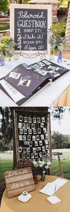 20 Must-See Non-Traditional Wedding Guest Book Alternatives – Announce It! 20 Must-See Non-Traditional Wedding Guest Book Alternatives polaroid wedding photo guest book ideas Fall Wedding, Rustic Wedding, Dream Wedding, Trendy Wedding, Wedding Book, Wedding Photo Guest Book, Wedding Stuff, Decor Wedding, Wedding Receptions