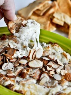 Toasted Almond Parmesan Dip - a perfect holiday appetizer!   How Sweet It Is