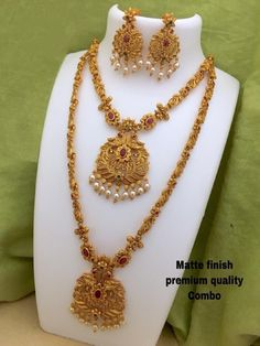 Trending Gold matt combo temple jewellery set with earrings Indian Wedding Jewelry, Indian Jewelry, Bridal Jewelry, Ruby Jewelry, Jewelry Art, Jewelry Necklaces, Gold Fashion, Fashion Jewelry, Fashion Necklace