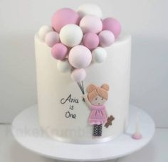 Baby Girl Birthday Cake, Cute Birthday Cakes, Cake Designs For Kids, Balloon Cake, Birthday Cake Decorating, Girl Cakes, Celebration Cakes, Cupcake Cakes, Baby Shower Cakes