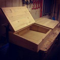 Wooden desk from scaffold boards