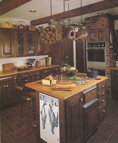 Vintage 80's Home Decorating Trends - Butcher Block Counters, Exposed Brick