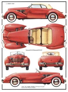 Cord Model 812 Supercharged Convertible Phaeton Sedan, 1937 - Illustration: Kenneth Rush