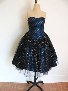 50s Inspired Iridescent TURQUOISE Blue by HousewifeVintage on Etsy, $169.00