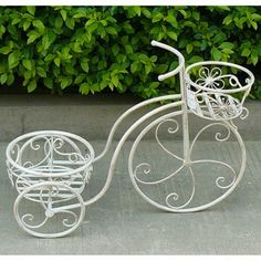 Antique White Bicycle Plant Holder #garden #pots #outdoor