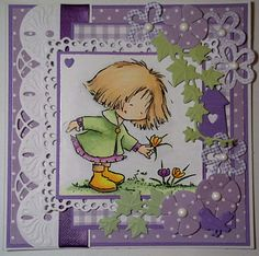 ink'n'rubba: Marianne Design die cuts and stamp from Don & Daisy - Daisy picking crocus, coloured with Copics