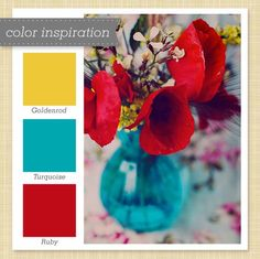 Color scheme. Great for outdoors, water based. Ruby and goldenrod pick up on sunset, turquoise picks up on water. Mix with white to make colors pop
