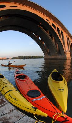 Rent kayaks from Jack's Boathouse under the Francis Scott Key Bridge that connects Washington, D.C. to Arlington, VA #StayArlington