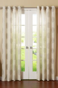 Linen Blend Medallion Printed Grommet Top Curtains - Set of 2 Panels - Grey by Best Home Fashion Inc. on @HauteLook