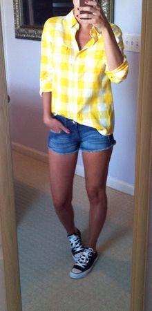Plaid shirt. Jean shorts.