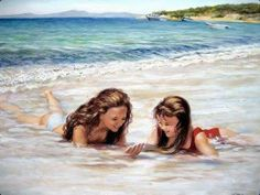 Sharing The World Together: Painter Marie Witte Mother Daughter Photos, Mother And Child, Vermont, Craig Tracy, Im Falling In Love, Pretty Wallpapers, Kawaii Anime Girl, Beautiful Paintings, Beach Paintings