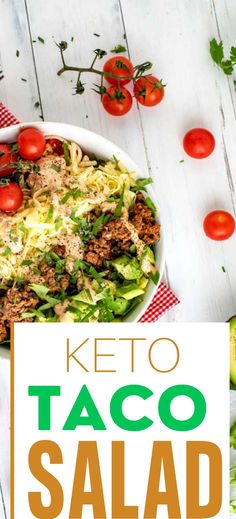 Easy Keto Taco Salad with Beef is the perfect low carb recipe for meal prep. So good it is even great to take to a potluck. This delicious one bowl meal is easy to make and so flavorful! This simple recipe is one you will make again and again. Healthy Dishes, Healthy Salad Recipes, Diabetic Recipes, Lunch Recipes, Healthy Foods, Beef Recipes, Healthy Eating, Low Carb Summer Recipes, Low Carb Taco Salad