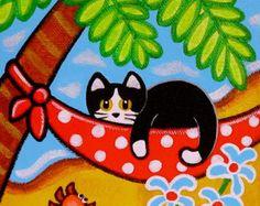 Tropical Tuxedo CAT on HAMMOCK by the Beach Folk Art PRINT from Original Painting by Jill