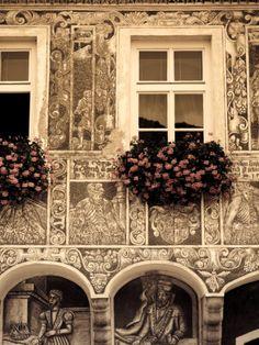 Czech Republic, South Moravia, Slavonice, Sgraffito Buildings