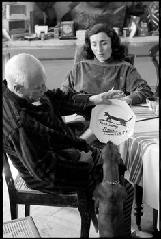 Portrait of Pablo Picasso, Lump and Jacqueline Roque by David Douglas Duncan, Cannes 1957