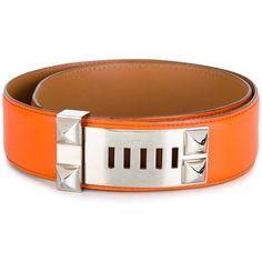 Hermès Vintage stud detail belt (20.361.070 IDR) ❤ liked on Polyvore featuring accessories, belts, orange, vintage belt, leather belt, real leather studded belt, genuine leather belt and orange leather belt