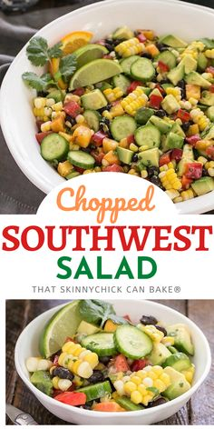 A tasty Southwest Chopped Salad with lots of chopped summer produce dressed in a cilantro lime vinaigrette. Loaded with fresh corn, black beans, peppers, avocados, peaches and more, this loaded summer salad will become a favorite! Fun Easy Recipes, New Recipes, Salad Recipes, Vegetarian Recipes, Easy Meals, Amazing Recipes, Delicious Recipes, Cookie Recipes, Tasty