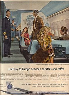 """Halfway to Europe Between Cocktails and Coffee,"" Pan Am. Airline Travel, Cruise Travel, Air Travel, Vintage Advertisements, Vintage Ads, Vintage Airline, Aviation World, Pan Am, Poster Ads"