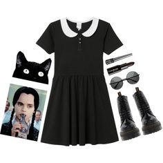 Wednesday Addams by indiia-raiin on Polyvore featuring Monki, Dr. Martens, Gorgeous Cosmetics and Victoria's Secret